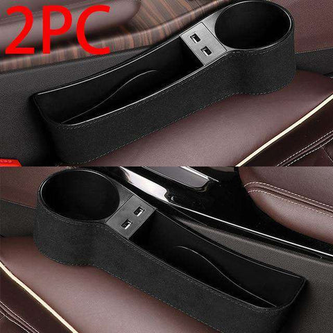 UNIVERSAL CAR SEAT STORAGE WITH DUAL USB CHARGING