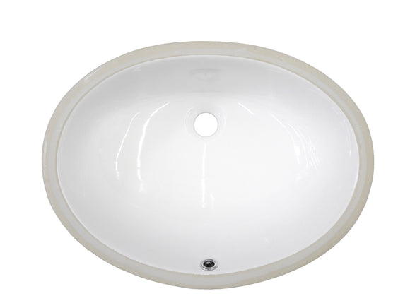 "Monterey Bay CUO-2014 white, Ceramic Oval Undermount Vanity, 22 3/8"" x 16 1/4"" x 8 1/4"