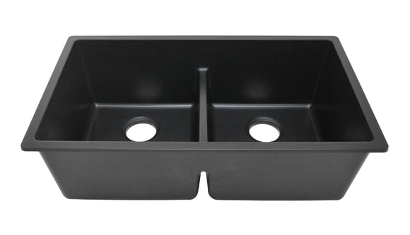 Auric 31 Inch Granite Composite 50/50 Double Bowl Kitchen Sink, Engineered Stone Black Pearl, GCU-LD5050 blkprl