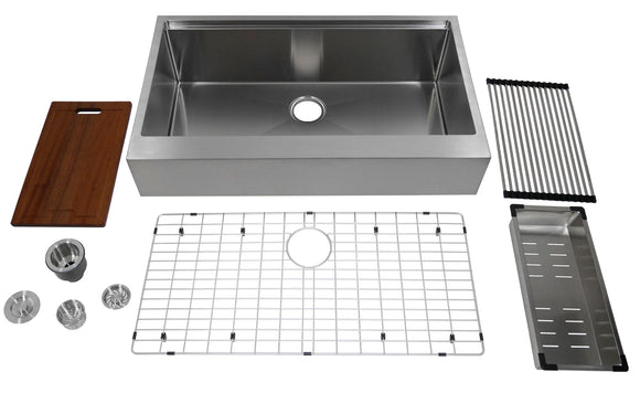 "Auric 36-inch Retro-fit Flat Apron-front Workstation Farmhouse Kitchen Sink 16 Gauge Stainless Steel 6"" Short Apron Single Bowl - SFAL-16-36-retro SGL COMBO"