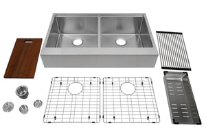 "Auric 36"" Retro-fit Farmhouse Workstation Flat Front Apron 50/50 Double Bowl Stainless Steel Sink, SFAL-16-36-retro 5050 COMBO"