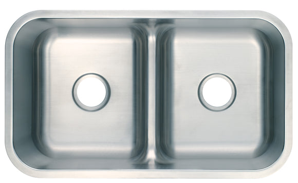 Monterey Bay 32 inch Stainless Steel Undermount Low Divide 50-50 Double Bowl Kitchen Sink, 16-gauge, 5:SDU-P16-5050 LowDiv