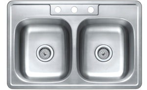Monterey Bay 33 inch Stainless Steel Top-mount 50-50 Double Bowl Kitchen Sink, 3 Hole, 20-gauge, 5:SDT-20-50508-3