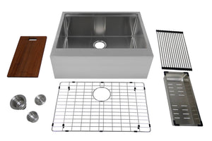 "Auric 27"" Farmhouse 9"" Flat Front Apron Workstation Farmhouse Single Bowl Kitchen Sink, SFAL-16-27-SGL COMBO"