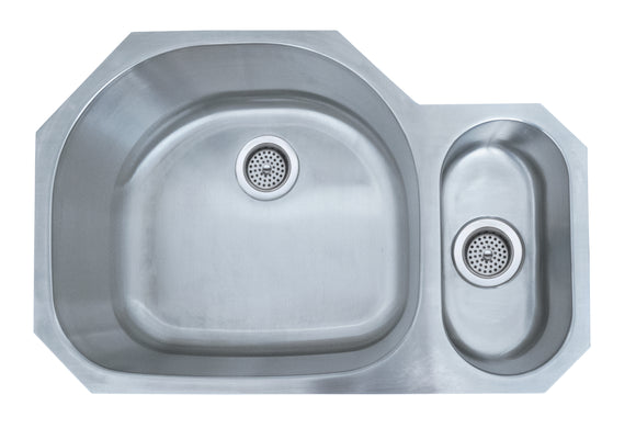 Monterey Bay 32 inch Stainless Steel Undermount 80-20 Double Bowl Kitchen Sink, 18-gauge, 5:SDU-18-8020