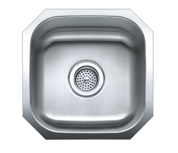Monterey Bay 16 x 16 inch Stainless Steel Undermount Single Bowl Sink, 18-gauge, 5:SDU-18-SGL 16168