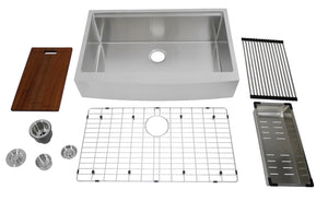 "Auric Sinks 33"" Retro-fit Farmhouse Curved Front Apron Ledge Single Bowl Stainless Steel Kitchen Sink, SCAL-16-33-retro SGL COMBO"