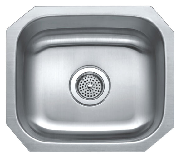 Monterey Bay 16 x 18 inch Stainless Steel Undermount Single Bowl Sink, 18-gauge, 5:SDU-18-SGL 16188