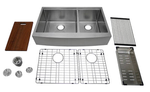 "Auric 33"" Retro-fit Farmhouse Workstation Curved Front Apron 60/40 Double Bowl Stainless Steel Sink, SCAL-16-33-retro 6040 COMBO"