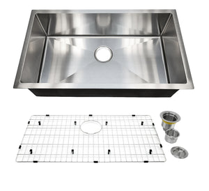 "Auric Sinks 32"" Stainless Steel Sink, Single Bowl Under Mount, 6:SHUR-16-SGL 321810"