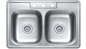 Monterey Bay 33 inch Stainless Steel Top-mount Shallow 50-50 Double Bowl Kitchen Sink, 3 Hole, 22-gauge, 5:SDT-22-50506-3