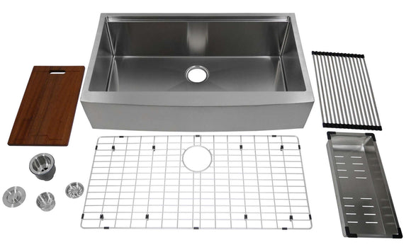 "Auric 36"" Retro-fit Curved Apron-front Workstation Farmhouse Kitchen Sink Stainless Steel 6"" Short Apron Single Bowl - SCAL-16-36-retro SGL COMBO"