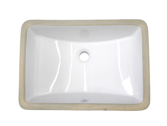 Monterey Bay CUS-1612 vf white, Vertical Front Square Ceramic Undermount Vanity, 17-1/2''x13-1/4''x8''