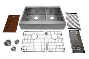 "Auric 33"" Retro-fit Farmhouse Workstation Flat Front Apron 6040 Double Bowl Stainless Steel Sink, SFAL-16-33-retro 6040 COMBO"