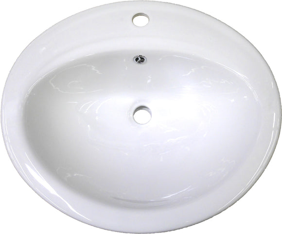 "Monterey Bay CTO-2017-1 white, Ceramic Oval Top-mount Vanity, One Faucet Hole, 20"" x 17"" x 8"
