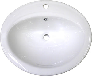 "Monterey Bay CTO-2219-1 white, Ceramic Oval Top-mount Vanity, One Faucet Hole, 22"" x 19"" x 8"""