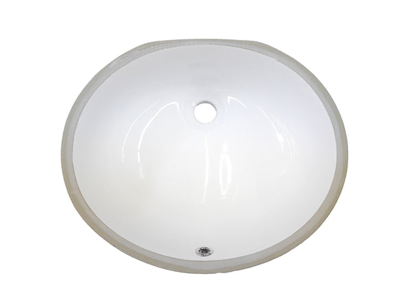 "Monterey Bay CUO-1714 white, Ceramic Oval Undermount Vanity 19 3/8"" x 16"" x 8 1/4"