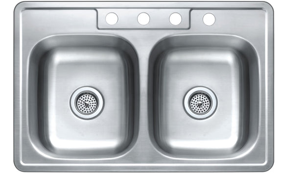 Monterey Bay 33 inch Stainless Steel Top-mount 50-50 Double Bowl Kitchen Sink, 4 Hole, 20-gauge, 5:SDT-20-50508-4