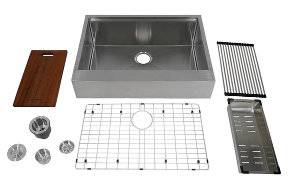 "Auric 30-inch Retro-fit Flat Apron-front Workstation Farmhouse Kitchen Sink Stainless Steel 6"" Short Apron Single Bowl - SFAL-16-30-retro SGL COMBO"