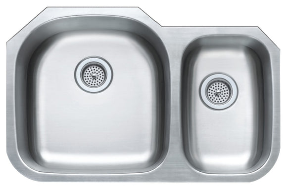 Monterey Bay 32 inch Stainless Steel Undermount 70-30 Double Bowl Kitchen Sink, 16-gauge, 5:SDU-P16-7030