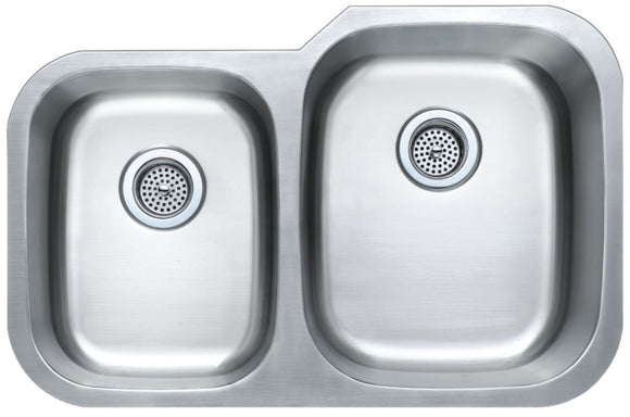 Monterey Bay 32 inch Stainless Steel Undermount 40-60 Double Bowl Kitchen Sink, 18-gauge, 5:SDU-18-4060