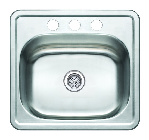 Monterey Bay 19 inch Stainless Steel Top-mount Single Bowl Kitchen Sink, 3 Hole, 22-gauge, 5:SDT-22-SGL 19196-3