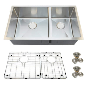 "Auric Sinks 32"" Premium Handmade Culinary Sink, Stainless Steel 16-gauge, Double Bowl Kitchen Sink, Under Mount, SHUR-P16-6040 321810"