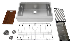"Auric Sinks 33"" Retro-fit Farmhouse Flat Front Apron Ledge Single Bowl Stainless Steel Kitchen Sink, SFAL-16-33-retro SGL COMBO"