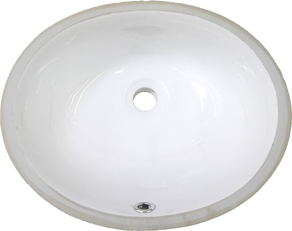 "Monterey Bay CUO-1512 white, Ceramic Oval Undermount Vanity, 16 1/2"" x 13 3/8"" x 7 1/2"