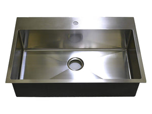 "Auric Sinks 33"" Premium Top mount Sink with Heavy 7 Gauge Deck, Stainless Steel Single Bowl Kitchen, 6:SHTR-18/7-SGL 33229"