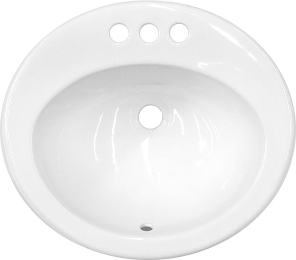 "Monterey Bay CTO-2017-3 white, Ceramic Oval Top-mount Vanity, Three Hole, 20"" x 17"" x 8"