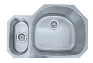 Monterey Bay 32 inch Stainless Steel Undermount 20-80 Double Bowl Kitchen Sink, 18-gauge, 5:SDU-18-2080