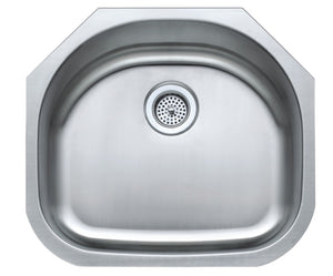 Monterey Bay 23 inch Stainless Steel Undermount Single Bowl Sink with Radius Back, 18-gauge, 5:SDU-18-SGL 23219rb