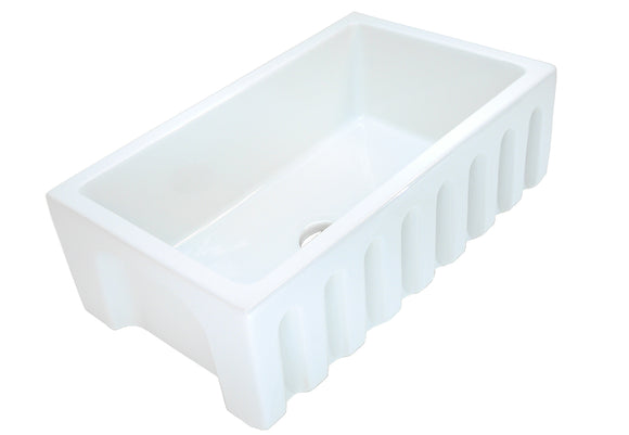 "30"" Fireclay Single Bowl Reversible Sink - FCFA-30-SGL"