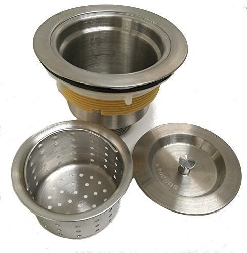 Auric Sinks 3-1/2-inch Kitchen Sink Stainless Steel Drain/Removable Deep Waste Basket Strainer/Sealing Lid