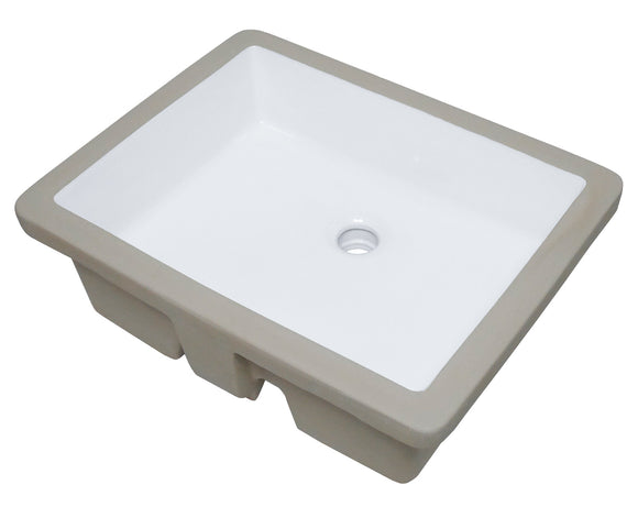 Auric Sinks White Ceramic Flat-Bottom Under-mount Rectangle Sink, 19-3/4