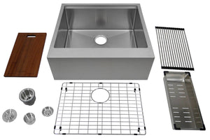 "Auric Sinks 24"" Workstation Farmhouse 9"" Flat Front Apron Ledge Single Bowl Kitchen Sink, SFAL-16-24-SGL COMBO"