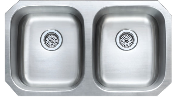 Monterey Bay 32 inch Stainless Steel Undermount 50-50 Double Bowl Kitchen Sink, 18-gauge, 5:SDU-18-5050
