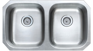 Monterey Bay 32 inch Stainless Steel Undermount Shallow 50-50 Double Bowl Kitchen Sink, 18-gauge, 5:SDU-18-5050 ADA 6""