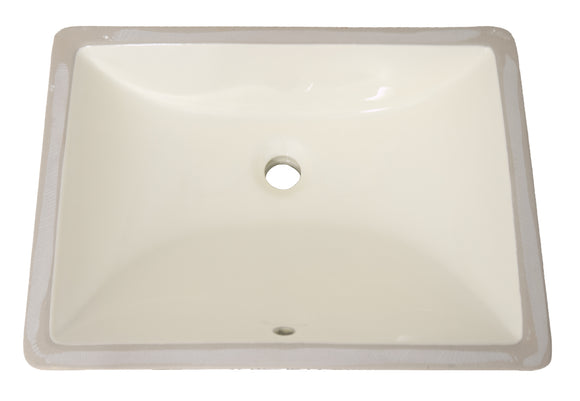 "Monterey Bay CUS-1813 sf biscuit, Slope Front Square Ceramic Undermount Vanity 19 3/4""x14 3/4""x8"