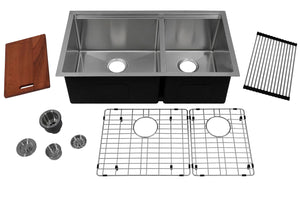"Auric Sinks 32"" Stainless Steel Ledge Bowl Sink, 60-40 Double Bowl Kitchen/Laundry/Veggie/Bar, Under Mount, SHUL-16-6040 321910 Combo"