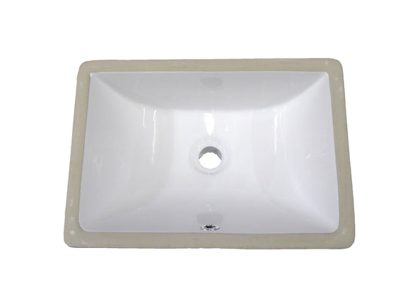 "Monterey Bay CUS-1813 sf white, Slope Front Square Ceramic Undermount Vanity 19 3/4""x14 3/4""x8"