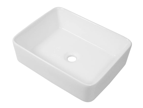 Auric Sinks White Ceramic Vessel Sink, Rectangular Above Counter Vanity Topmount 18-7/8