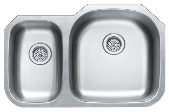 Monterey Bay 32 inch Stainless Steel Undermount 30-70 Double Bowl Kitchen Sink, 18-gauge, 5:SDU-18-3070