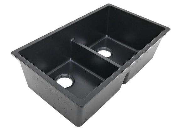 Auric 31 Inch Granite Composite 50/50 Double Bowl Kitchen Sink, Engineered Stone , GCU-LD5050