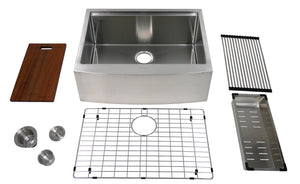 "Auric Sinks 27"" Farmhouse 9"" Curved Front Apron Ledge Single Bowl Stainless Steel Kitchen Sink, SCAL-16-27-SGL COMBO"