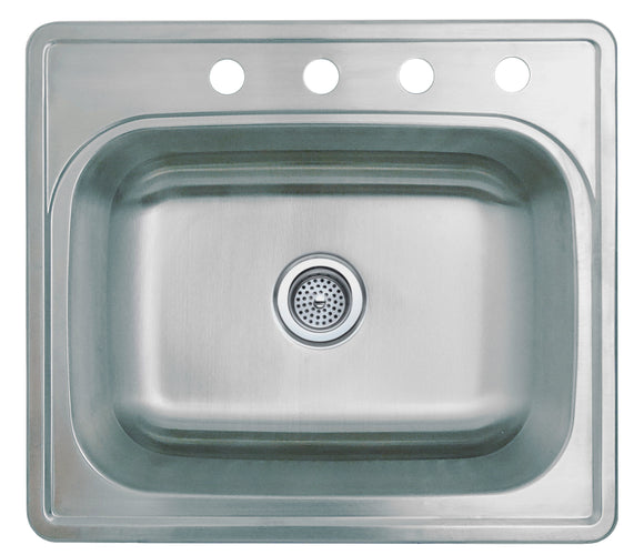 Monterey Bay 25 inch Stainless Steel Top-mount Single Bowl Kitchen Sink, 4 Hole, 20-gauge, 5:SDT-20-SGL 25228-4