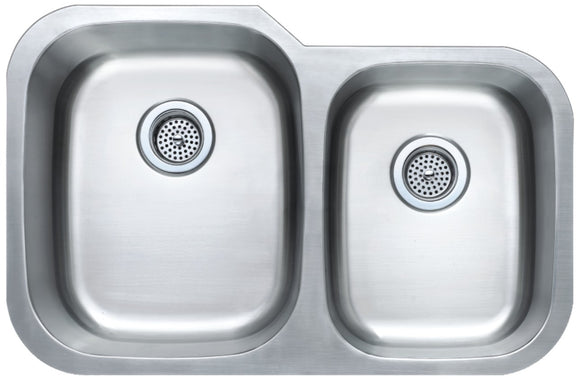 Monterey Bay 32 inch Stainless Steel Undermount 60-40 Double Bowl Kitchen Sink, 18-gauge, 5:SDU-18-6040