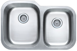 Monterey Bay 32 inch Stainless Steel Undermount 60-40 Double Bowl Kitchen Sink, 16-gauge, 5:SDU-P16-6040