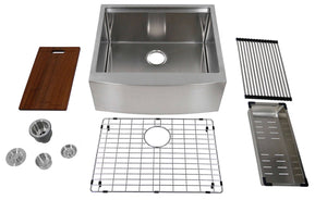 "Auric Sinks 24"" Farmhouse 9"" Curved Front Apron Ledge Single Bowl Stainless Steel Kitchen Sink, SCAL-16-24-SGL COMBO"